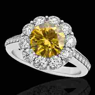 2 ctw Certified SI/I Fancy Intense Yellow Diamond Halo
