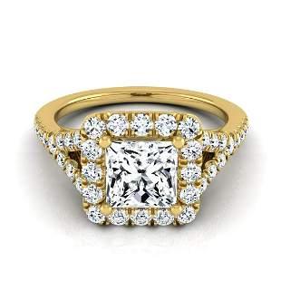 1 1/2ctw Princess Cut Diamond Square Halo Engagement