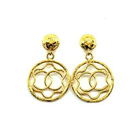 Authentic CHANEL Coco Logos Swing Earrings Round Type