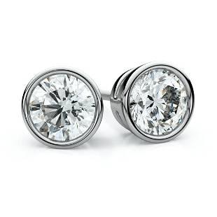 14k White Gold Bezel Round Diamond Stud Earrings 2ctw