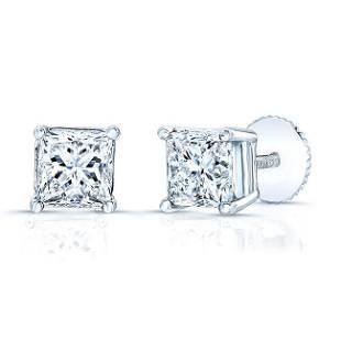 Diamond Princess Cut Stud Earrings In 14k White Gold