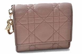 Authentic Christian Dior Cannage Lamb Skin Wallet Pink