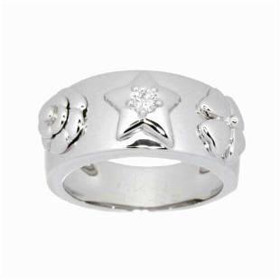 Authentic CHANEL Three Symbols Diamond Ring 18K White