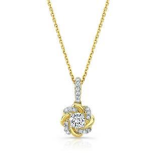 Diamond Floral Swirl High-polish Accent Pendant With