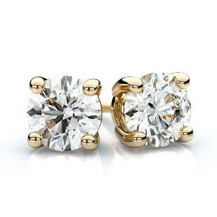 18k Yellow Gold 4-prong Round Diamond Stud Earrings