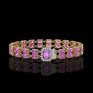 13.83 ctw Amethyst & Diamond Bracelet 14K Yellow Gold
