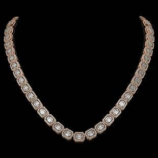 33.10 ctw Emerald Cut Diamond Micro Pave Necklace 18K