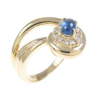 Authentic K18 Yellow Gold Sapphire ring