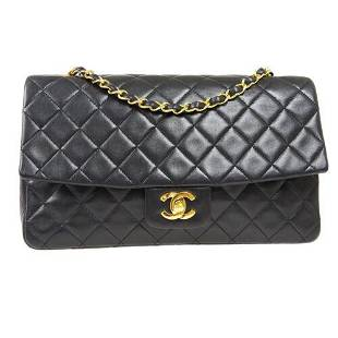 Authentic CHANEL Quilted Double Chain Shoulder Bag