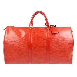 Authentic LOUIS VUITTON KEEPALL 50 TRAVEL HAND BAG RED