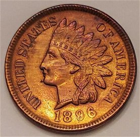Authentic 1896 Indian Head Cent Grading GEM BU R/B