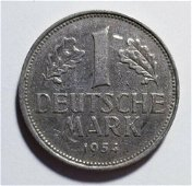 Authentic 1954-F Germany 1 Deutsche Mark XF Priced