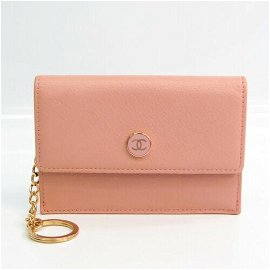 Authentic Chanel Coco Button A20908 Leather Card Case