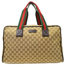 Authentic GUCCI GG Pattern Sherry Line Travel Hand Bag