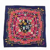 Authentic HERMES Scarf Carre 90 Petite main Navy