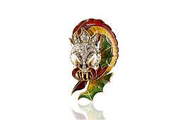 Authentic Vintage Gold And Enamel Dragon Head Brooch