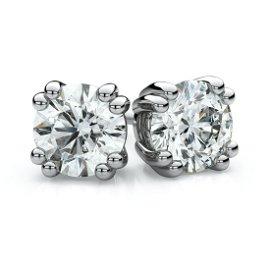 18k White Gold Double Prong Round Diamond Stud Earrings
