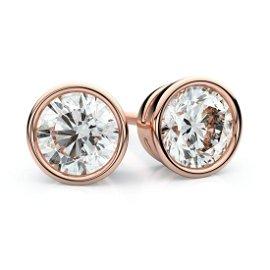 14k Rose Gold Bezel Round Diamond Stud Earrings 1.10ctw