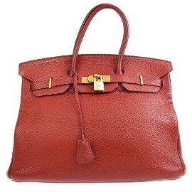 Authentic HERMES BIRKIN 35 Hand Bag Cafe Taurillon