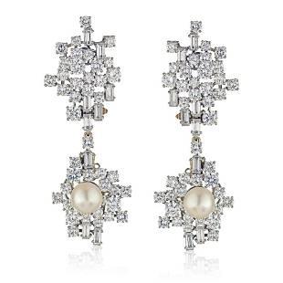 Authentic Chaumet 1950's Platinum Diamond And Pearl