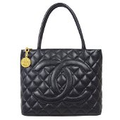 Authentic CHANEL Medallion Quilted Hand Tote Bag