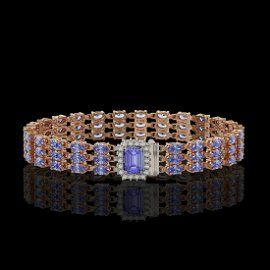 24.18 ctw Tanzanite & Diamond Bracelet 14K Rose Gold