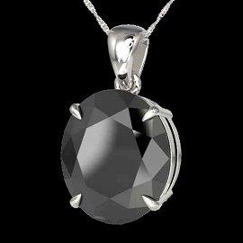 9 ctw Black Diamond Certified Designer Necklace 18k