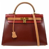 Authentic HERMES KELLY 32 SELLIER 2way Tricolour Hand