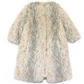 Authentic Prada No Color Eco Fur Coat Ladies Beige 44