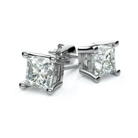 Platinum 4-prong Princess Diamond Stud Earrings (0.52