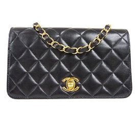 Authentic CHANEL Full Flap Quilted Chain Shoulder Bag