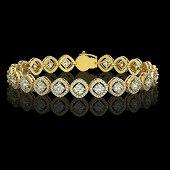 8.44 ctw Cushion Cut Diamond Micro Pave Bracelet 18K