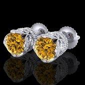 3 ctw Intense Fancy Yellow Diamond Art Deco Earrings