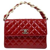 Authentic CHANEL Quilted CC Chain Hand Bag Red Patent
