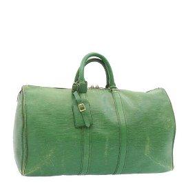 Authentic LOUIS VUITTON Epi Keepall 45 Boston Bag Green