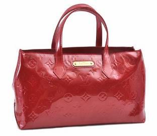 Authentic Louis Vuitton Vernis Wilshire PM Hand Bag Red