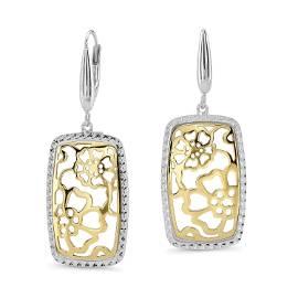 14k Gold Two-tone Rectangle Framed Flower Drop Earrings