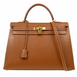 Authentic HERMES KELLY 35 SELLIER 2way Hand Bag