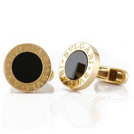 Authentic BVLGARI Cufflinks Onyx Gold Men's K18