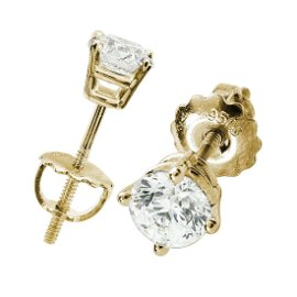 Diamond Round 4 Prong Stud Earrings In 14k Yellow Gold
