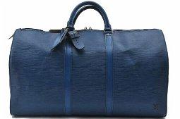 Authentic Louis Vuitton Epi Keepall 50 Boston Bag Blue
