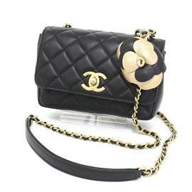 Authentic Chanel Mini Chain Shoulder Bag Camellia