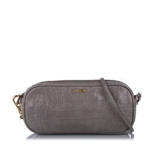 Authentic Miu Miu Croc Embossed Leather Crossbody Bag