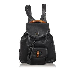 Authentic Gucci Bamboo Leather Drawstring Backpack