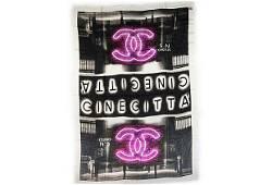 Authentic Chanel BN Black Cinecitta Cashmere Shawl