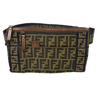 Authentic FENDI Zucca Pattern Waist Bum Bag