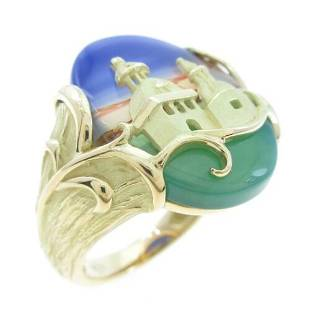 Authentic K18 Yellow Gold Agate ring