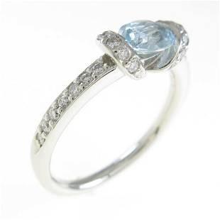 Authentic Platinum Aquamarine ring