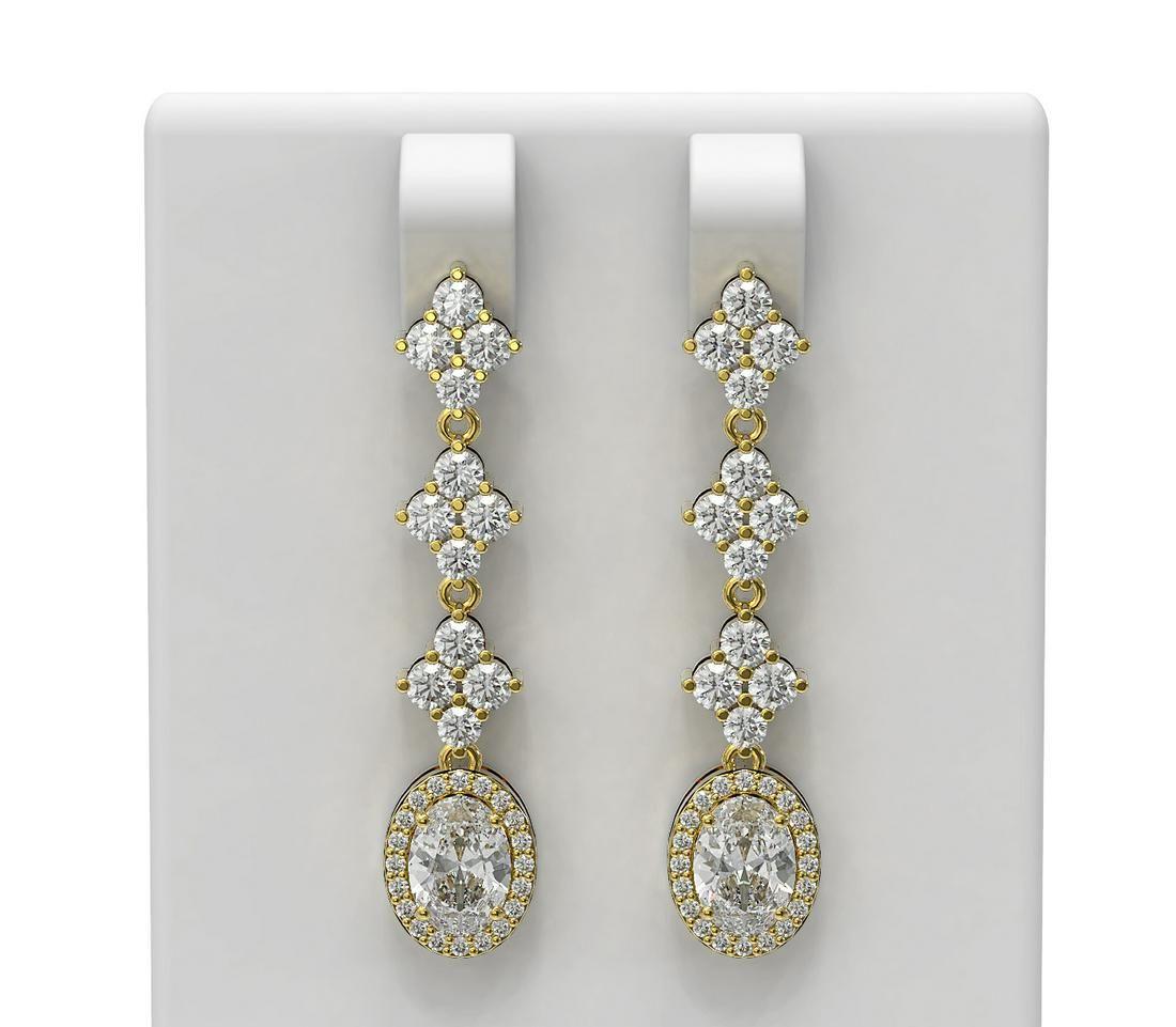 3.84 ctw Oval Diamond Earrings 18K Yellow Gold