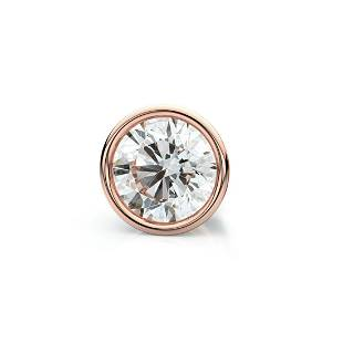 14k Rose Gold Bezel Round Diamond Single Stud Earring